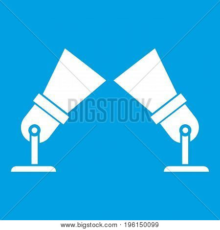 Floodlights icon white isolated on blue background vector illustration