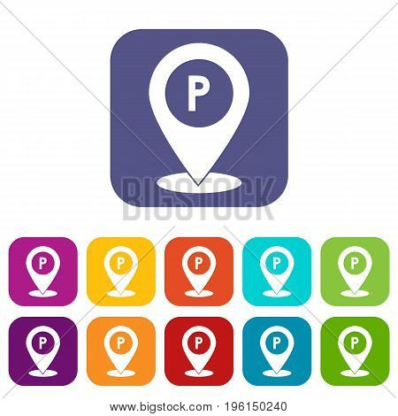 Map pointer with car parking sign icons set vector illustration in flat style in colors red, blue, green, and other