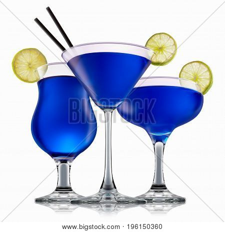 Fresh fruit alcohol cocktail or mocktail in classic glasses with blue beverage isolated on white background.