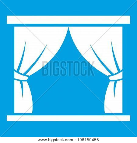 Curtain on stage icon white isolated on blue background vector illustration