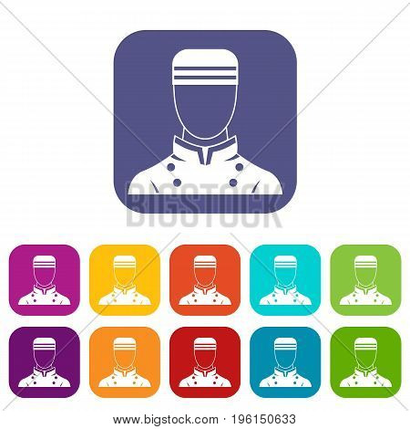 Doorman icons set vector illustration in flat style in colors red, blue, green, and other
