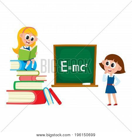 Schoolgirls, school girls, one answering at physics lesson, another reading book, cartoon vector illustration isolated on white background. School girls - standing at blackboard and reading a book