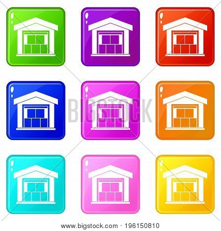 Warehouse building icons of 9 color set isolated vector illustration