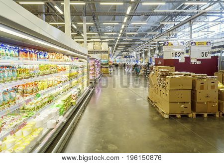 Volgograd Russian Federation - February 17 2017: Shopping concept in supermarket