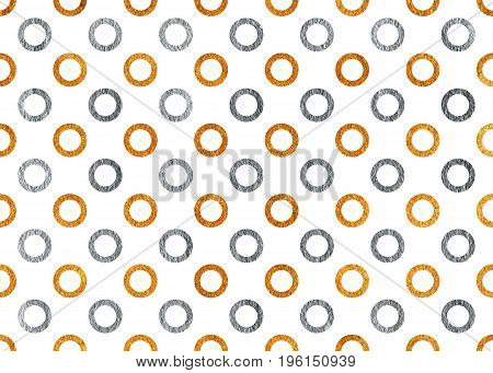 Silver And Golden Painted Circles Pattern.