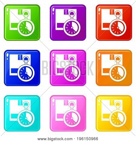 Cardboard box with stopwatch icons of 9 color set isolated vector illustration