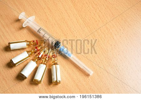 Syringe And Medication In Ampoules, Injections, Capsules And Tablets