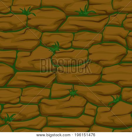 Cracked pattern of brown earth and grass, Vector seamless soil texture
