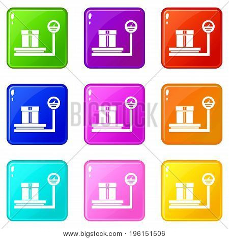Shop scales icons of 9 color set isolated vector illustration