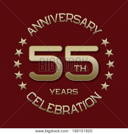 55th anniversary celebration logo symbol. Golden circular editable emblem on red.