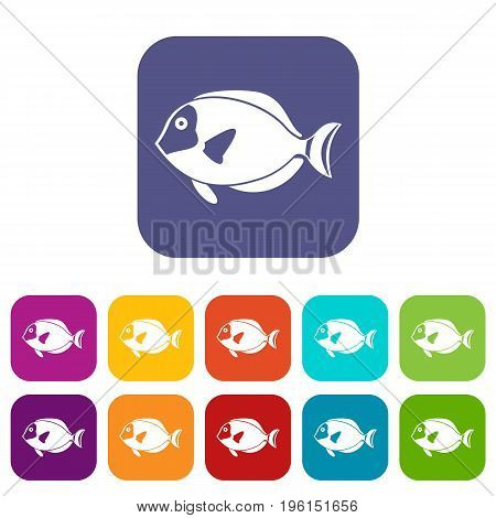 Surgeon fish icons set vector illustration in flat style in colors red, blue, green, and other