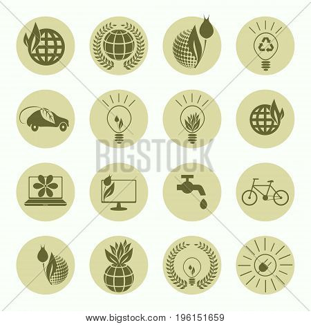 Set of round signs, symbols of green color system of ecology