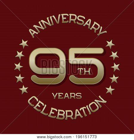 95th anniversary celebration logo symbol. Golden circular editable emblem on red.