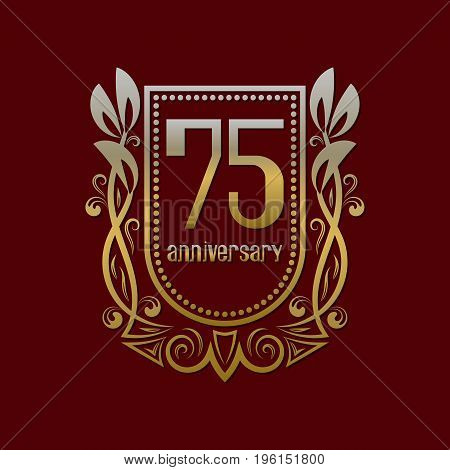 Seventy fifth anniversary vintage logo symbol. Golden emblem with numbers on shield in wreath.