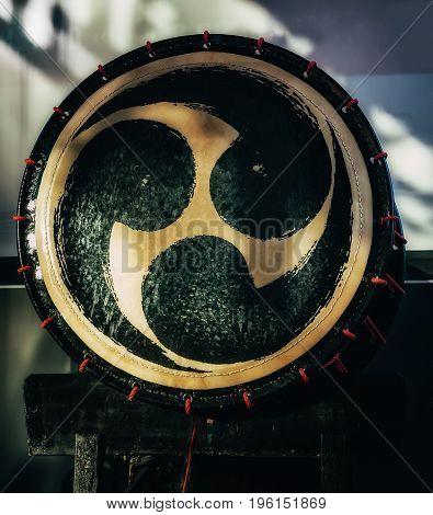 Taiko drum o-kedo on scene background. Musical instrument of Asia Korea Japan China