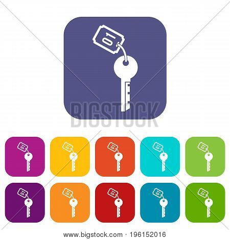 Hotel key icons set vector illustration in flat style in colors red, blue, green, and other