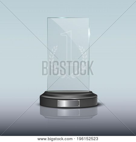 Vector glass rectangle winner podium plate with mirror reflection.