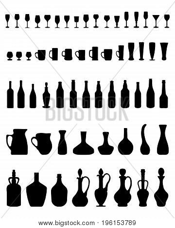 Silhouettes of bowls, bottles, glasses on a white background