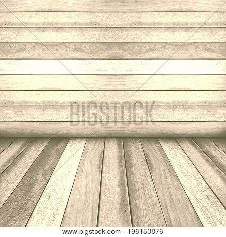 Vintage wooden panel wall and floor interior background.
