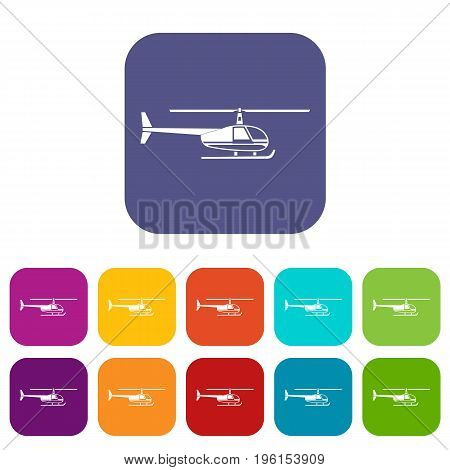 Helicopter icons set vector illustration in flat style in colors red, blue, green, and other