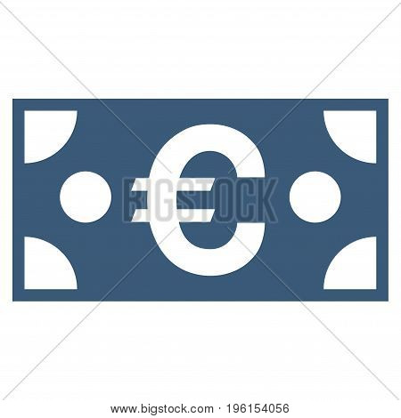 Euro Banknote vector icon. Flat blue symbol. Pictogram is isolated on a white background. Designed for web and software interfaces.