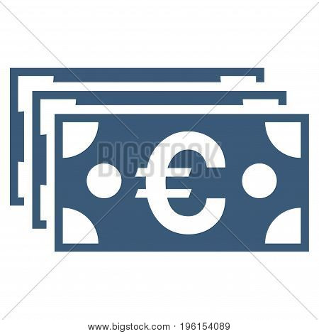 Euro Banknotes vector icon. Flat blue symbol. Pictogram is isolated on a white background. Designed for web and software interfaces.