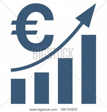 Euro Bar Chart Trend vector icon. Flat blue symbol. Pictogram is isolated on a white background. Designed for web and software interfaces.