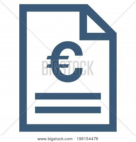 Euro Invoice Page vector icon. Flat blue symbol. Pictogram is isolated on a white background. Designed for web and software interfaces.
