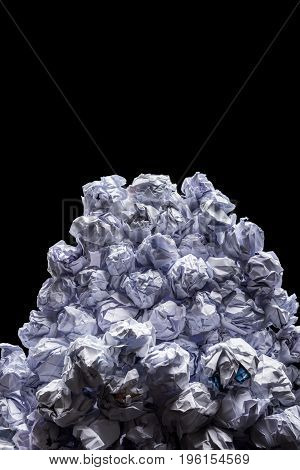 close-up view of big heap of crumpled papers isolated on black