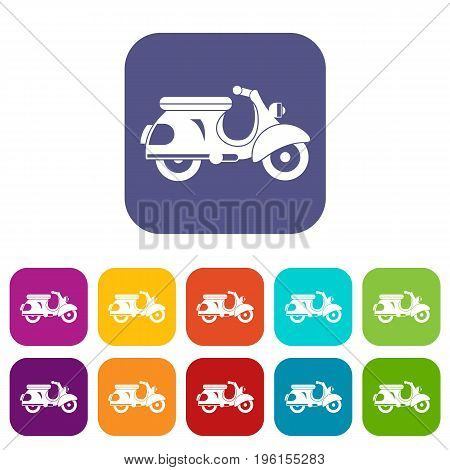 Scooter icons set vector illustration in flat style in colors red, blue, green, and other