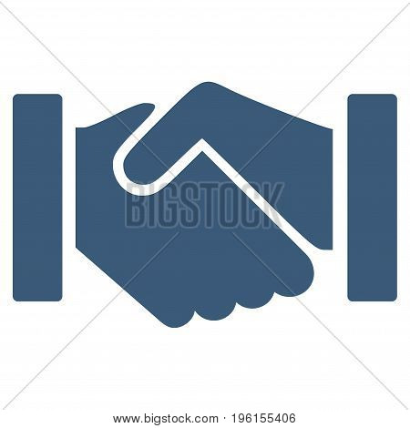 Relation Handshake vector icon. Flat blue symbol. Pictogram is isolated on a white background. Designed for web and software interfaces.