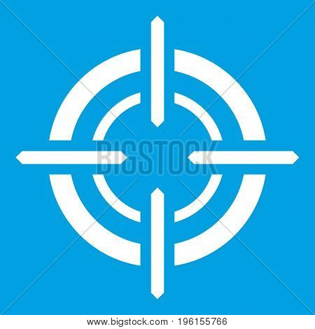 Target icon white isolated on blue background vector illustration
