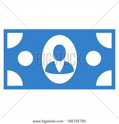 Banknote vector icon. Flat cobalt symbol. Pictogram is isolated on a white background. Designed for web and software interfaces.