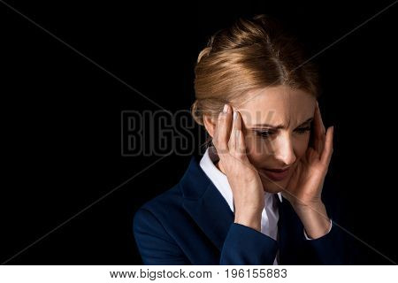 Tired Middle Aged Business Woman With Headache Holding Hands On Temples Isolated On Black
