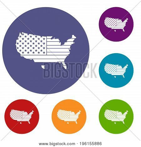 American map icons set in flat circle red, blue and green color for web