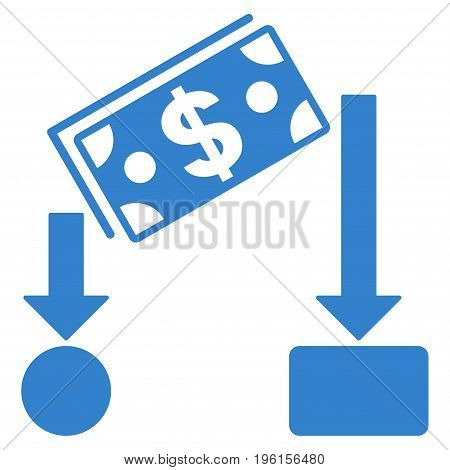 Cash Flow vector icon. Flat cobalt symbol. Pictogram is isolated on a white background. Designed for web and software interfaces.