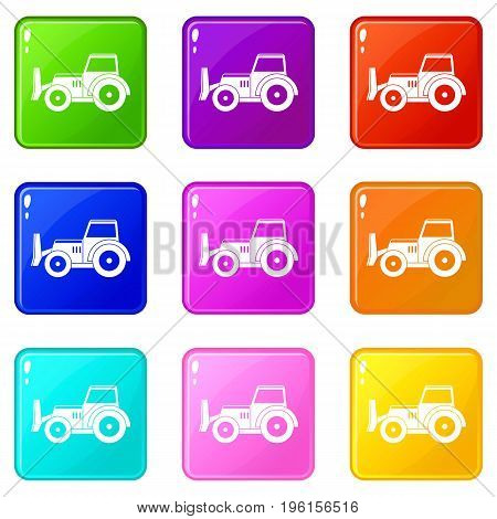 Skid steer loader bulldozer icons of 9 color set isolated vector illustration