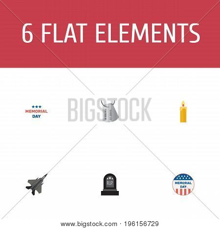 Flat Icons Usa Badge, Holiday, Tomb And Other Vector Elements