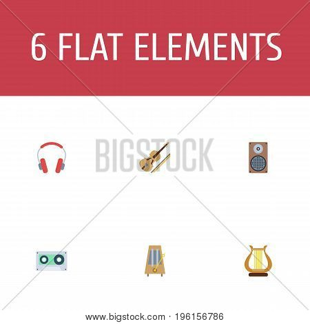 Flat Icons Tape, Rhythm Motion, Audio Box And Other Vector Elements