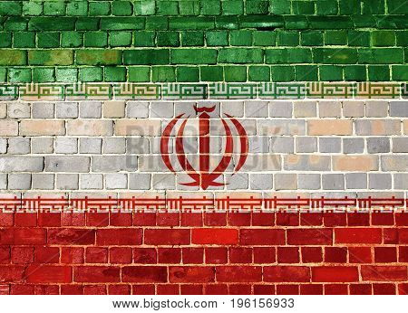 Iranian flag on an old brick wall background
