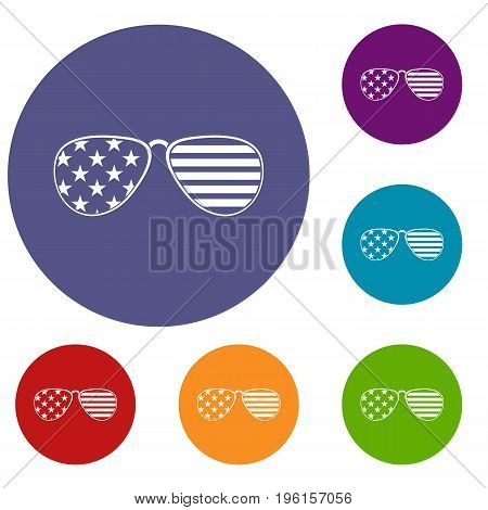 American glasses icons set in flat circle red, blue and green color for web