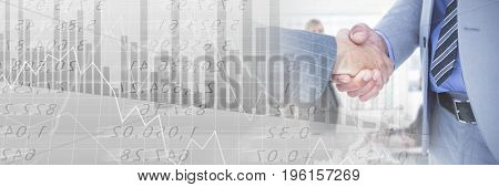 Digital composite of Business people having a meeting with financial figures charts transition effect