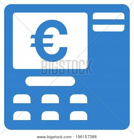 Euro ATM vector icon. Flat cobalt symbol. Pictogram is isolated on a white background. Designed for web and software interfaces.