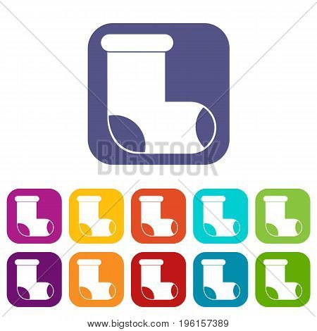 Felt boot icons set vector illustration in flat style in colors red, blue, green, and other