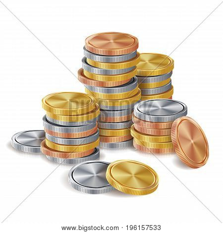 Gold, Silver, Bronze, Copper Coins Stacks Vector. Finance Icons, Sign, Success Banking Cash Symbol. Investment Concept. Realistic Currency Isolated Illustration