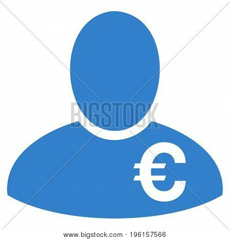 Euro Financier vector icon. Flat cobalt symbol. Pictogram is isolated on a white background. Designed for web and software interfaces.