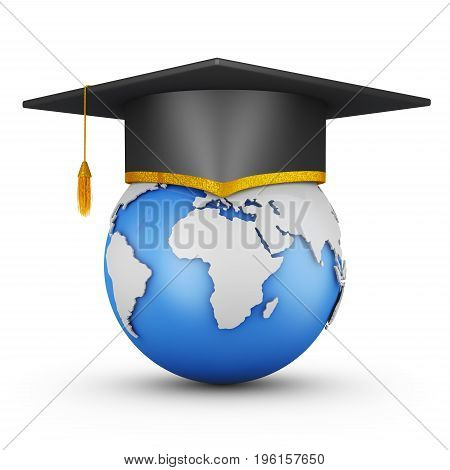 Student hat on the globe. 3d rendering.