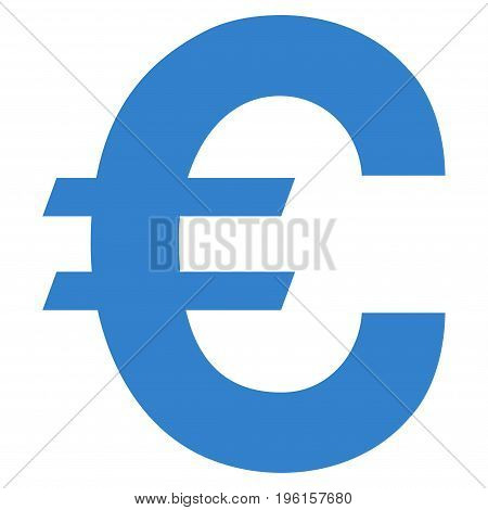 Euro Symbol vector icon. Flat cobalt symbol. Pictogram is isolated on a white background. Designed for web and software interfaces.