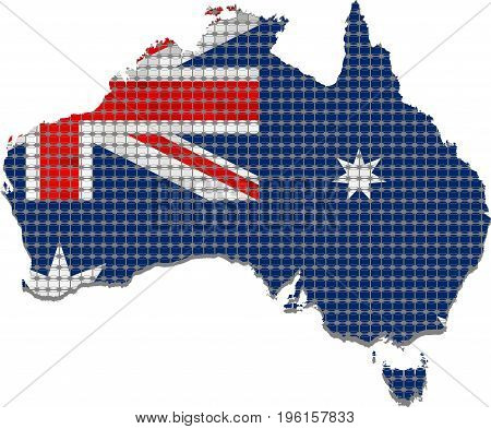 Australia grunge map with flag inside - Illustration,  Abstract grunge mosaic vector