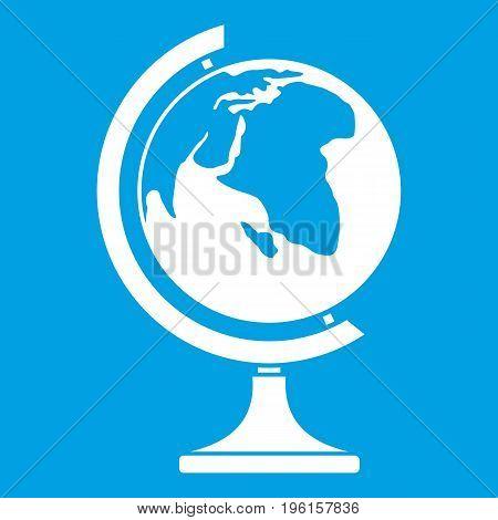 Globe icon white isolated on blue background vector illustration